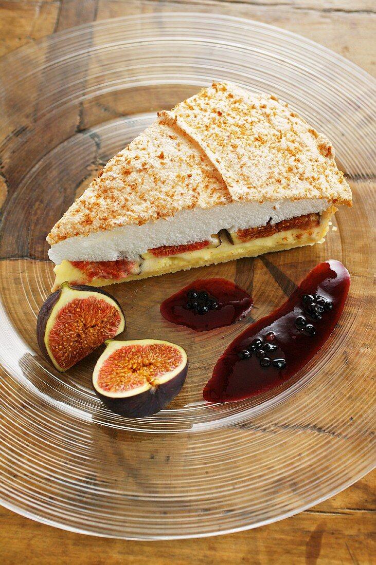 Fig tart with coconut meringue and elderberries