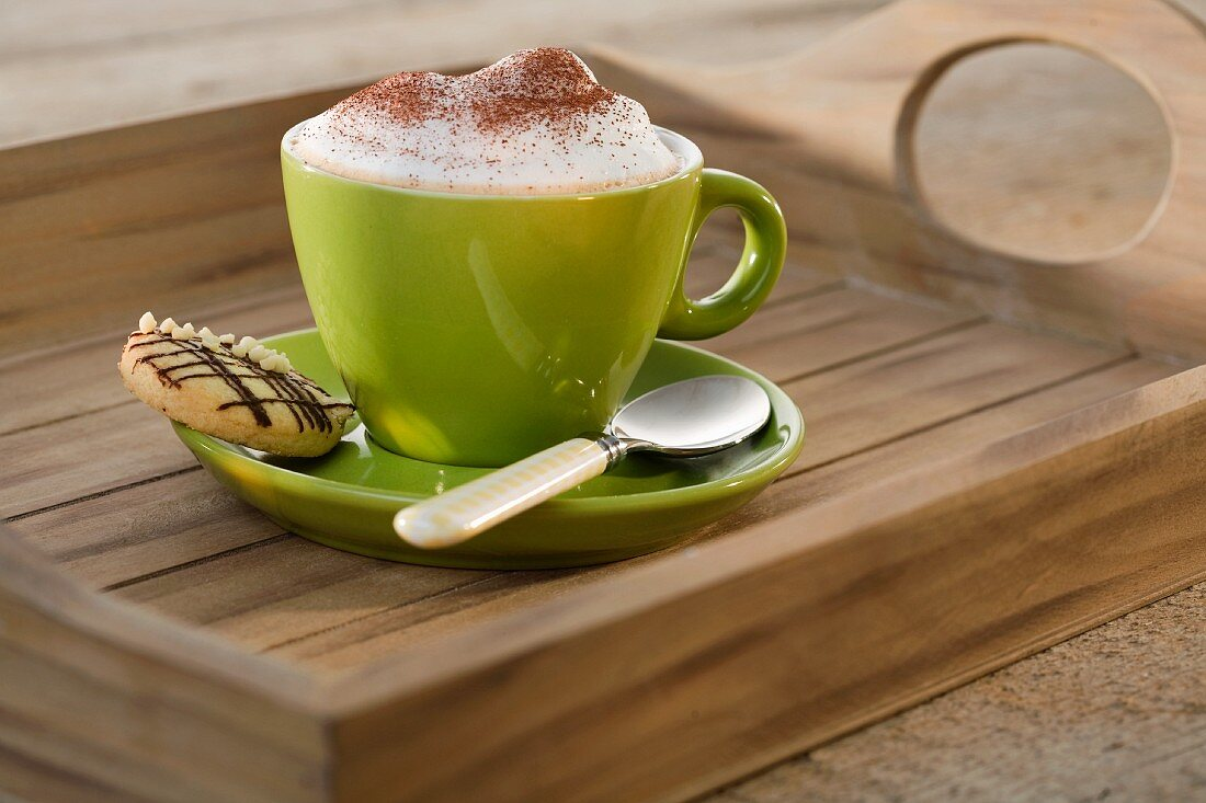 A cup of cappuccino with a biscuit on the saucer