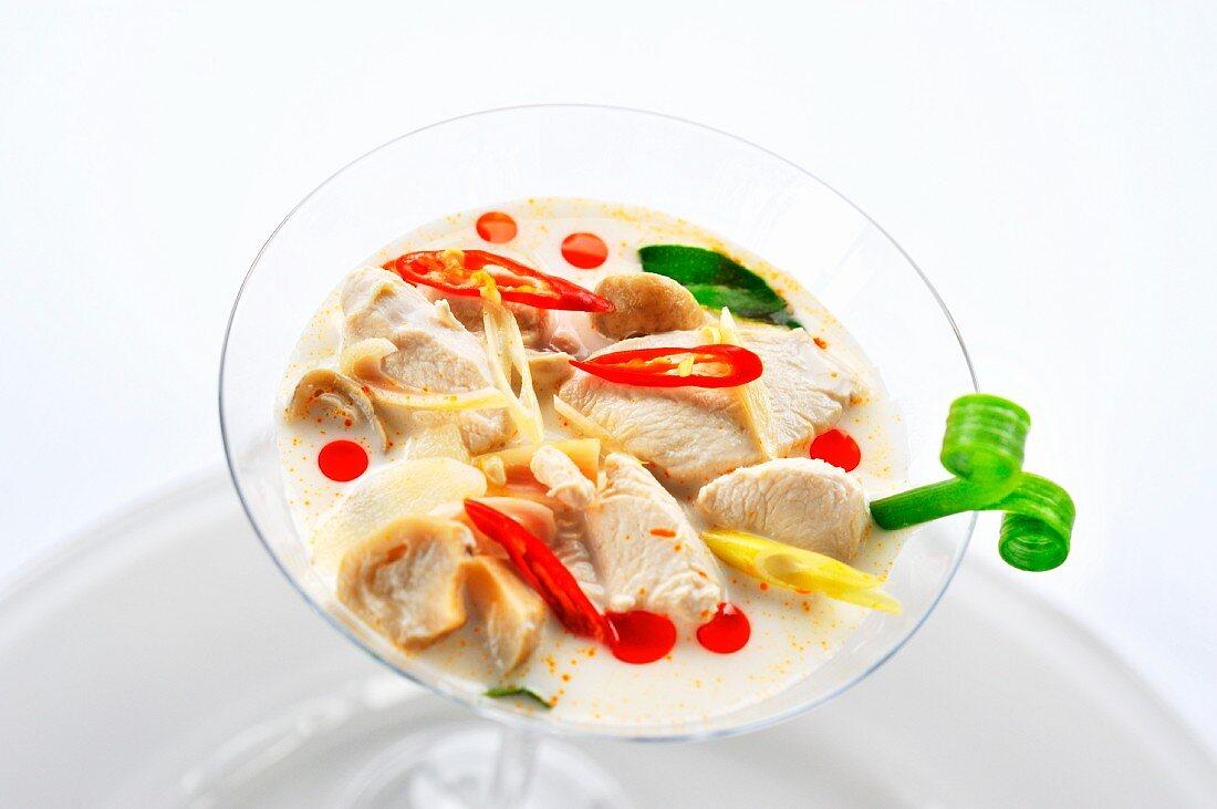 Tom Ka Gai; Thai Coconut Chicken Soup; In a Bowl