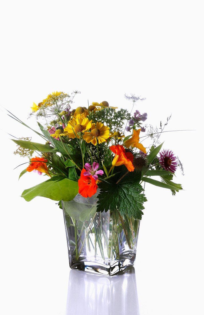 A summer bouquet in a glass vase