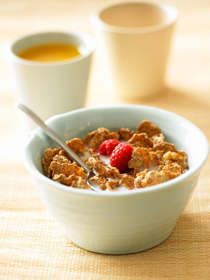 Corn Flake Cereal with Raspberries