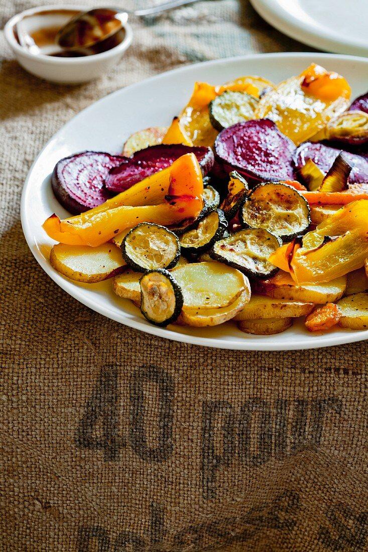 Warm salad made of roasted vegetables