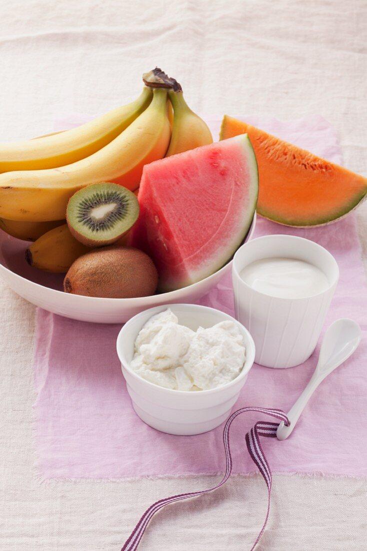 Still life with fruit, quark and yogurt