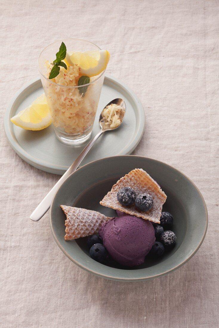 Blueberry ice cream with tofu and apple sorbet