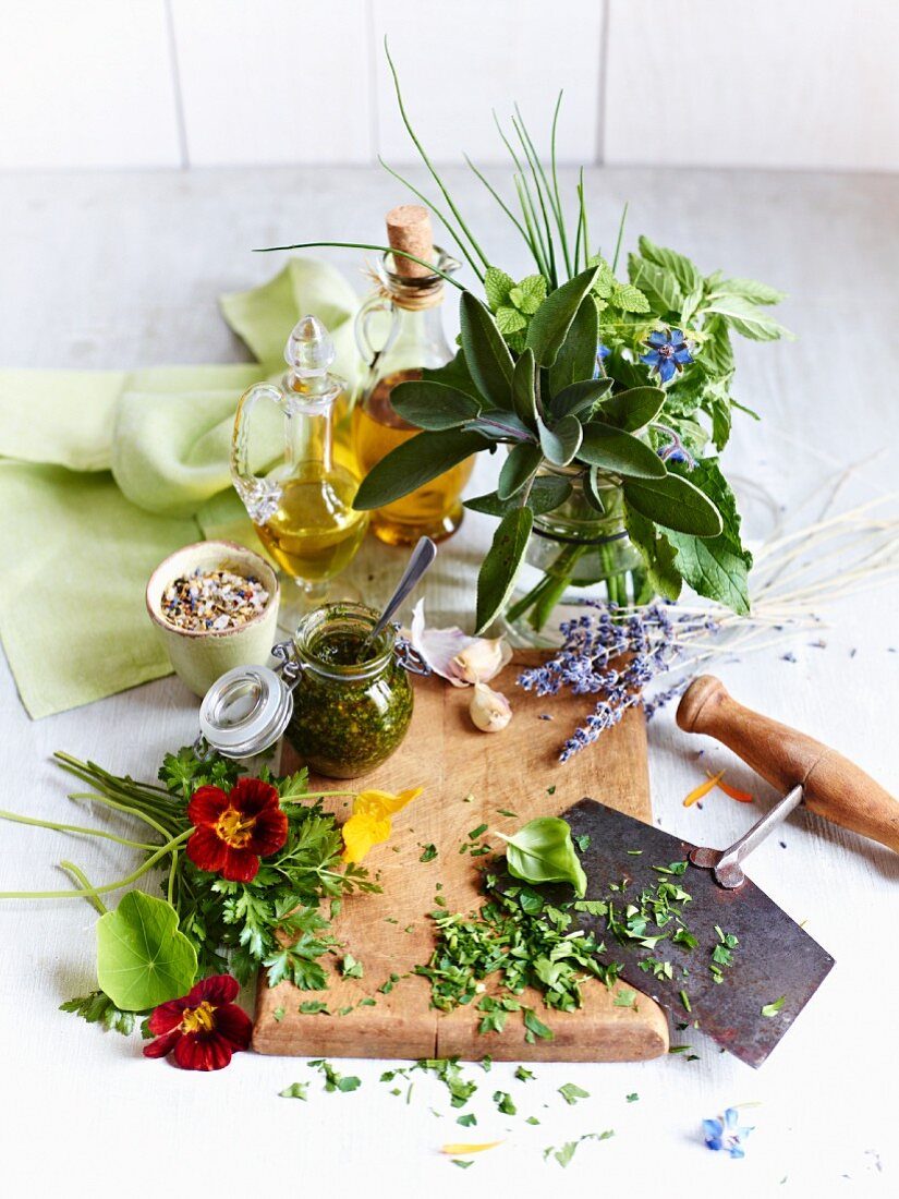 Fresh herbs, herb flowers and chopped herbs