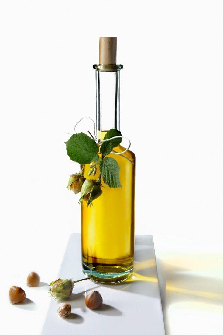 Hazel nut oil in a bottle