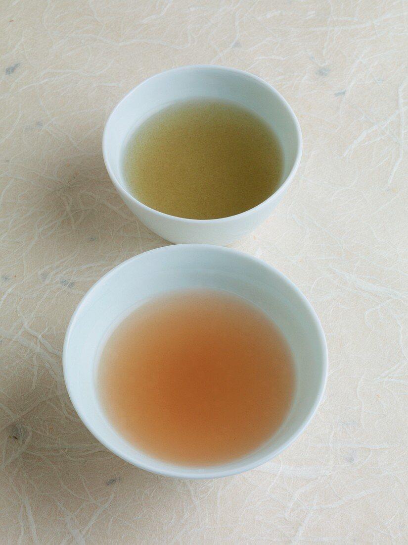 Japanese soup ingredients: konbu dashi (seaweed powder) and katsuo dashi (dried bonito flakes)