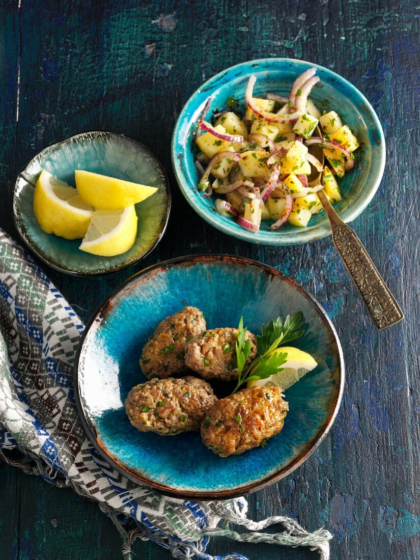 Oriental party snack of kofta and salad