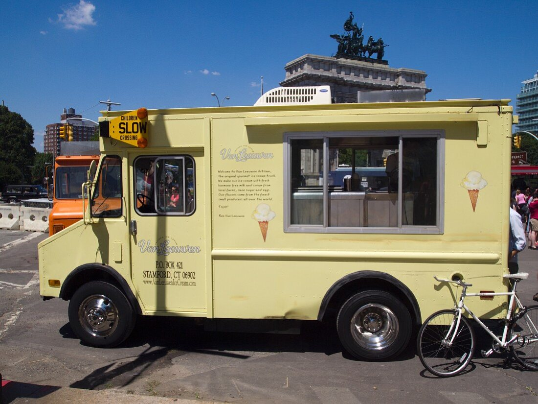 An ice cream tuck at the Food Truck Rally in Grand Army Plaza, Brooklyn, NY