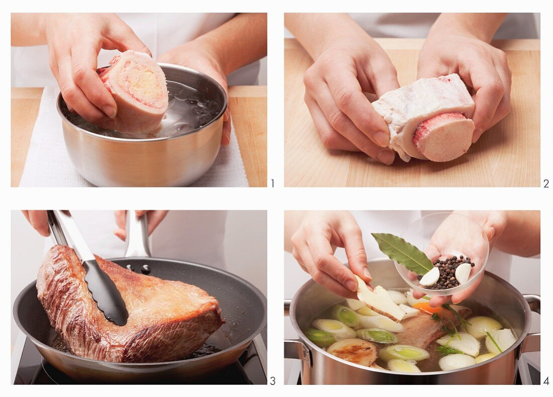 Preparing Tafelspitz (German boiled sirloin) with beef bone marrow