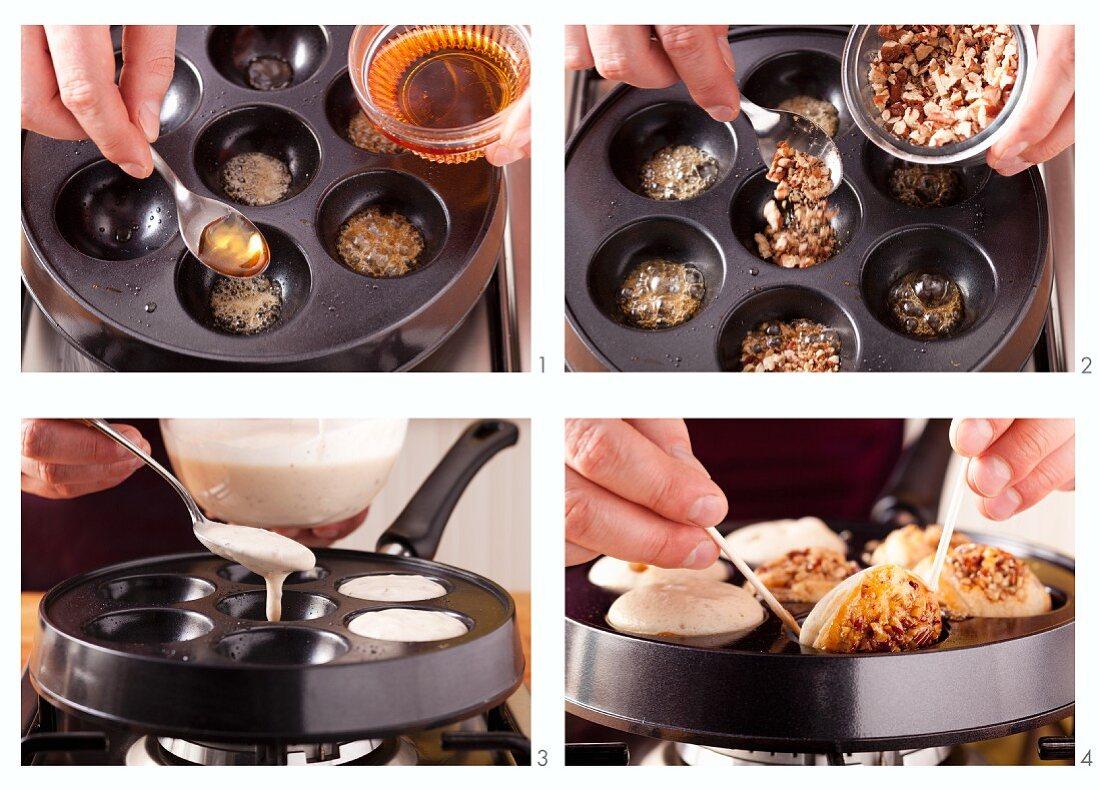 Aebleskiver mit Pekannüssen und Ahornsirup zubereiten