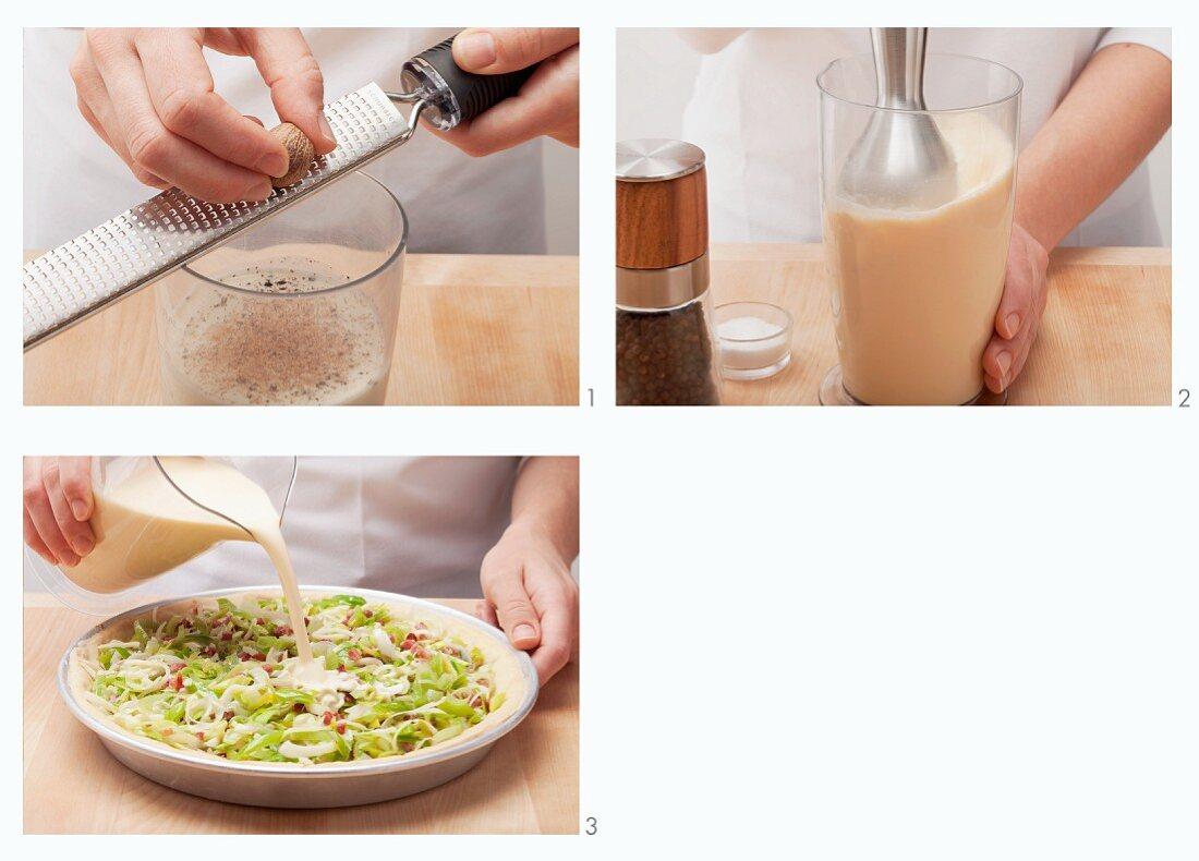 Preparing egg mix for leek tart