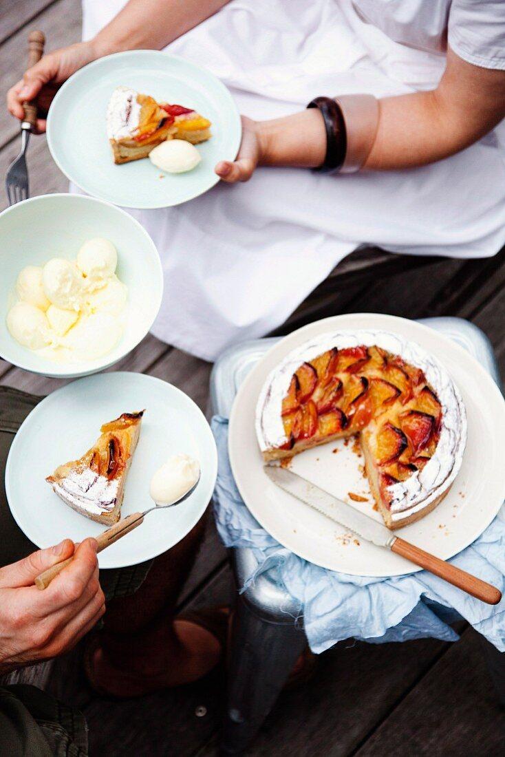 Nectarine tart with vanilla-almond cream
