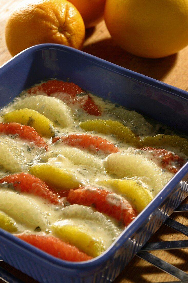 Baked citrus fruit with gorgonzola