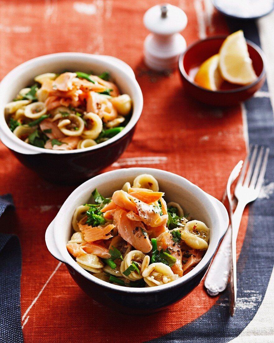 Orecchiette pasta with smoked trout and broccoli