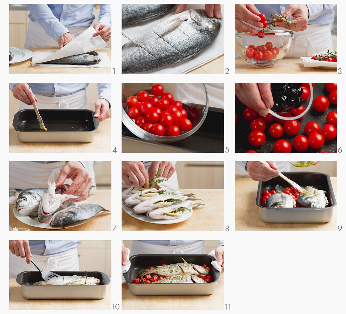 Preparing baked lemon seabream with cherry tomatoes and black olives