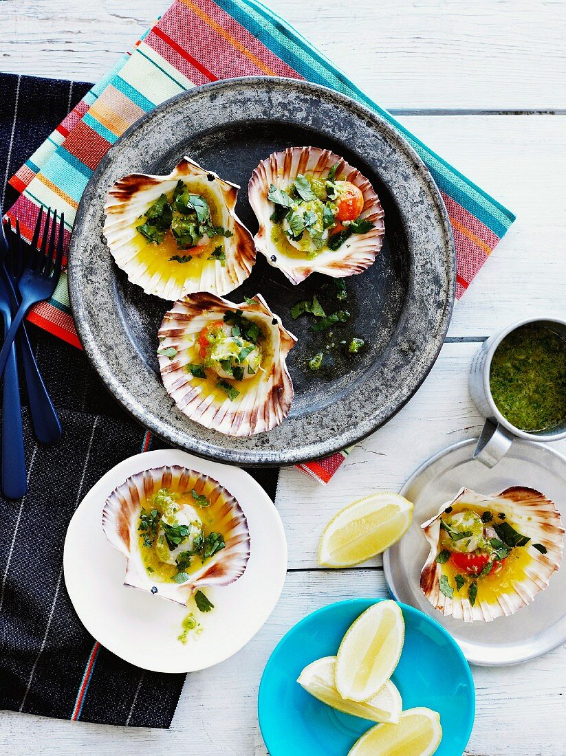 Grilled Jacob's mussels with herb-butter sauce in mussel shells