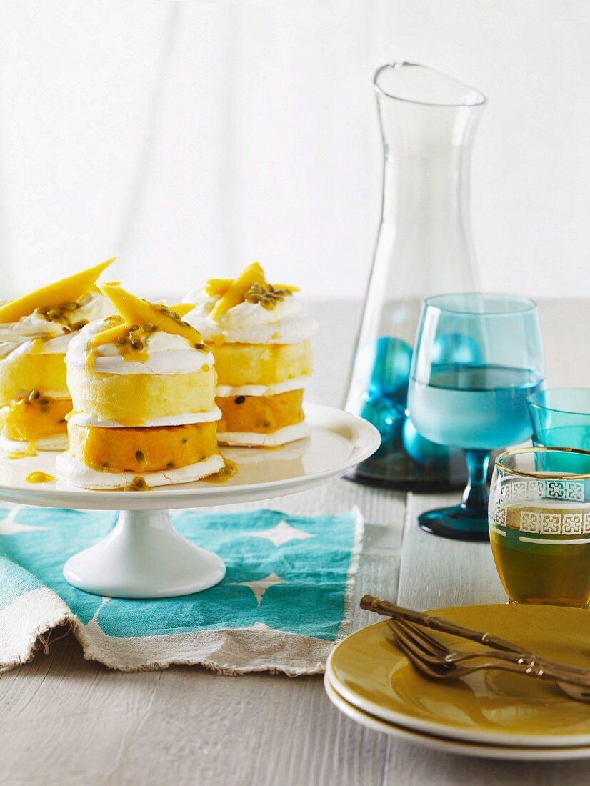 Vacherin torte with maracuja and pineapple sorbet