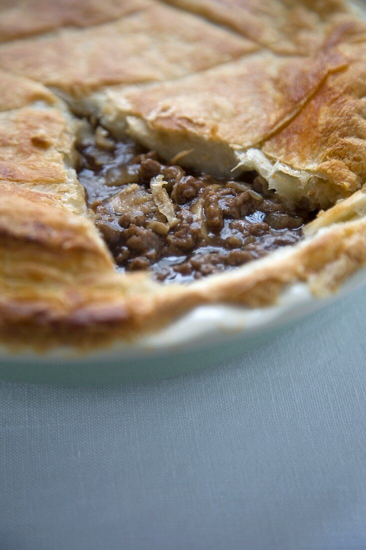 Beef and Mushroom Pot Pie; Slice Removed