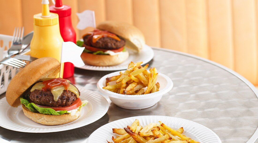 Burger and chips in a fast food cafe