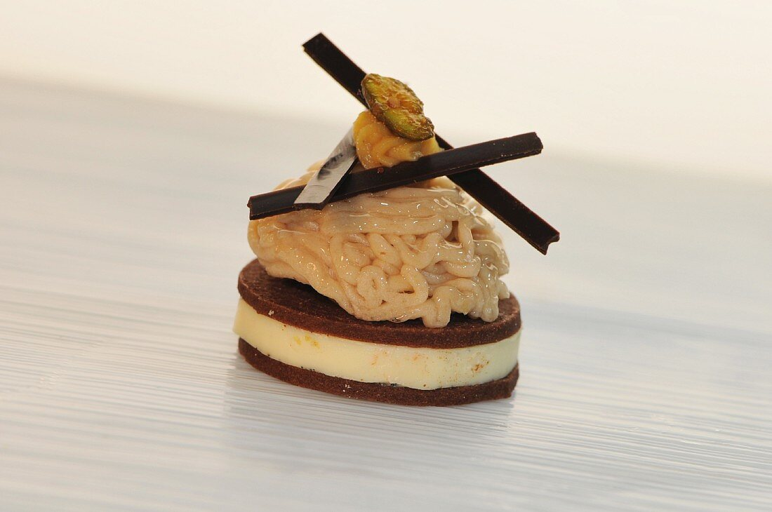 Maroni vermicelli on a chocolate sable with creme brulee