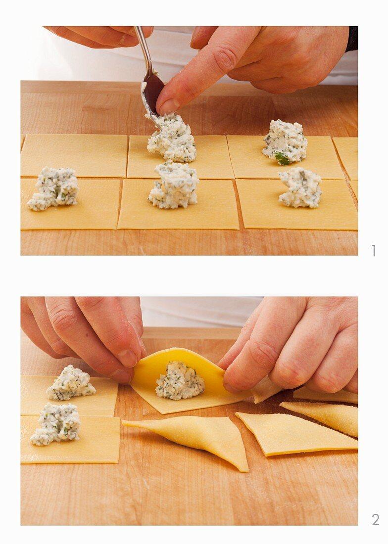 Pansooti (stuffed pasta pockets) being made