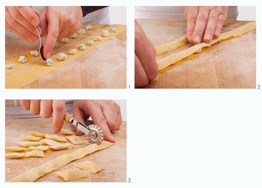 Agnolotti dal plin (stuffed pasta pockets) being made