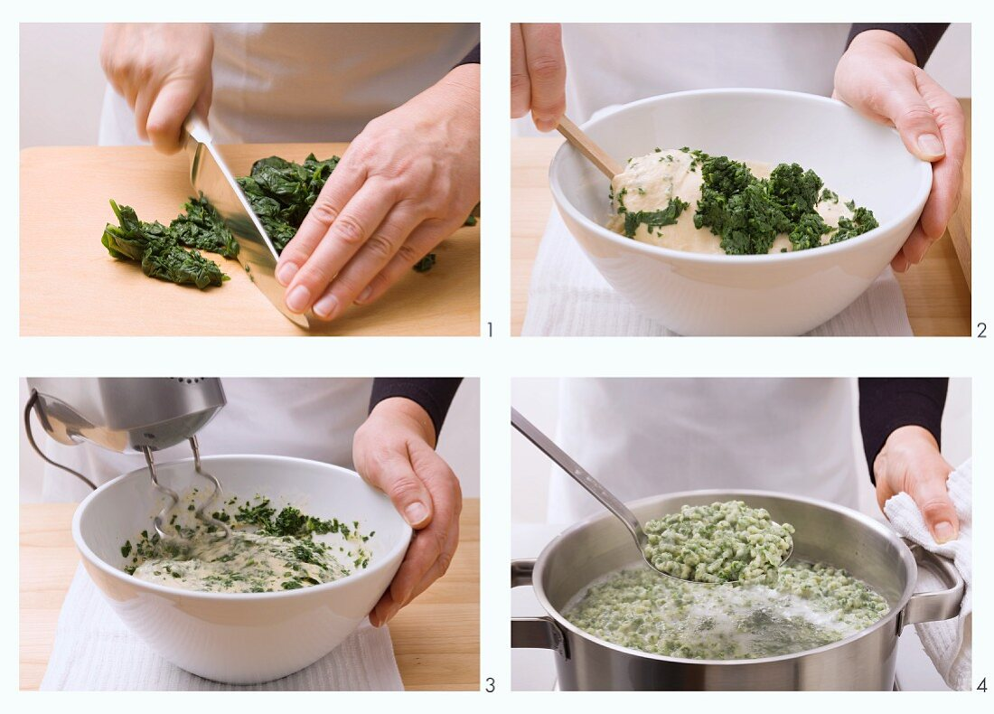 Spinach spätzle (soft egg noodles from Swabia) being made and cooked