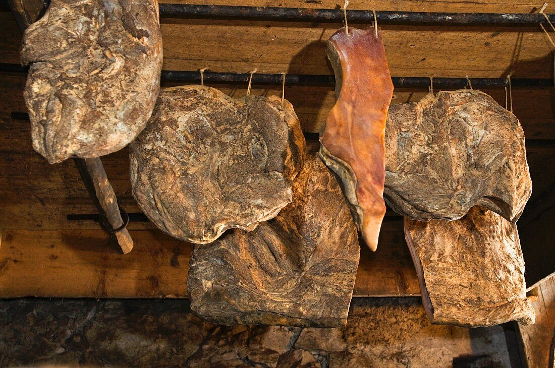 South Tyrolean bacon hanging up