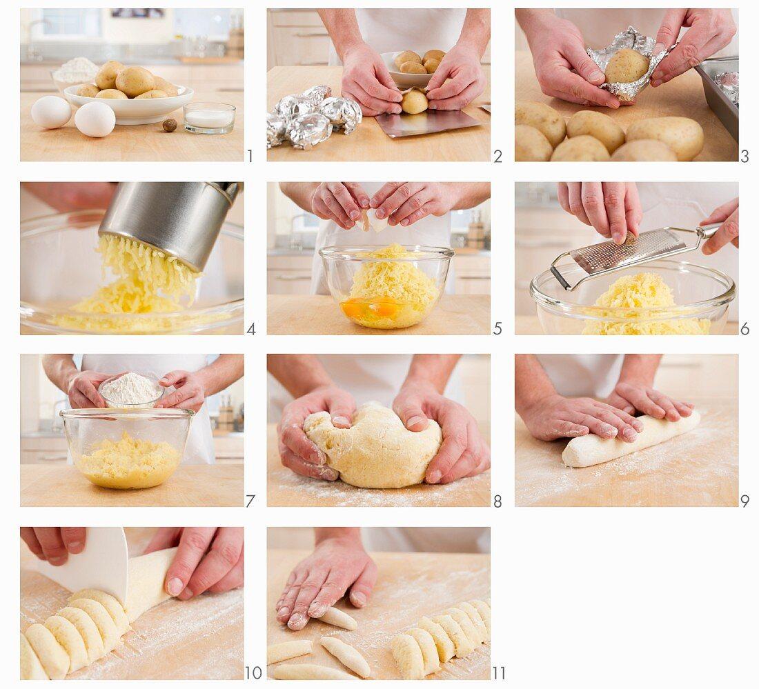 Potato orzo pasta being made