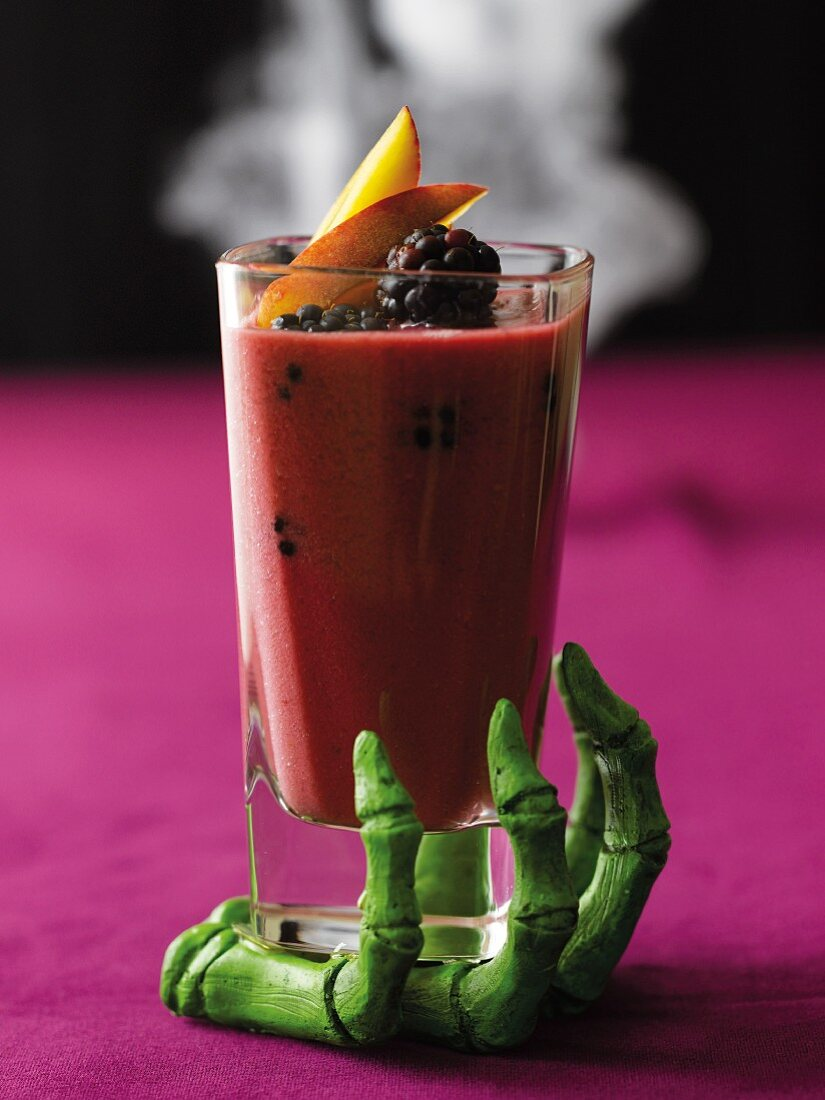 Blackberry smoothies and a skeleton hand for Halloween