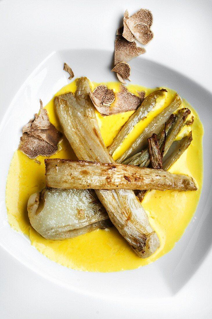 Cardi, fonduta e tartufo (cardoons with fondue and alba truffles)