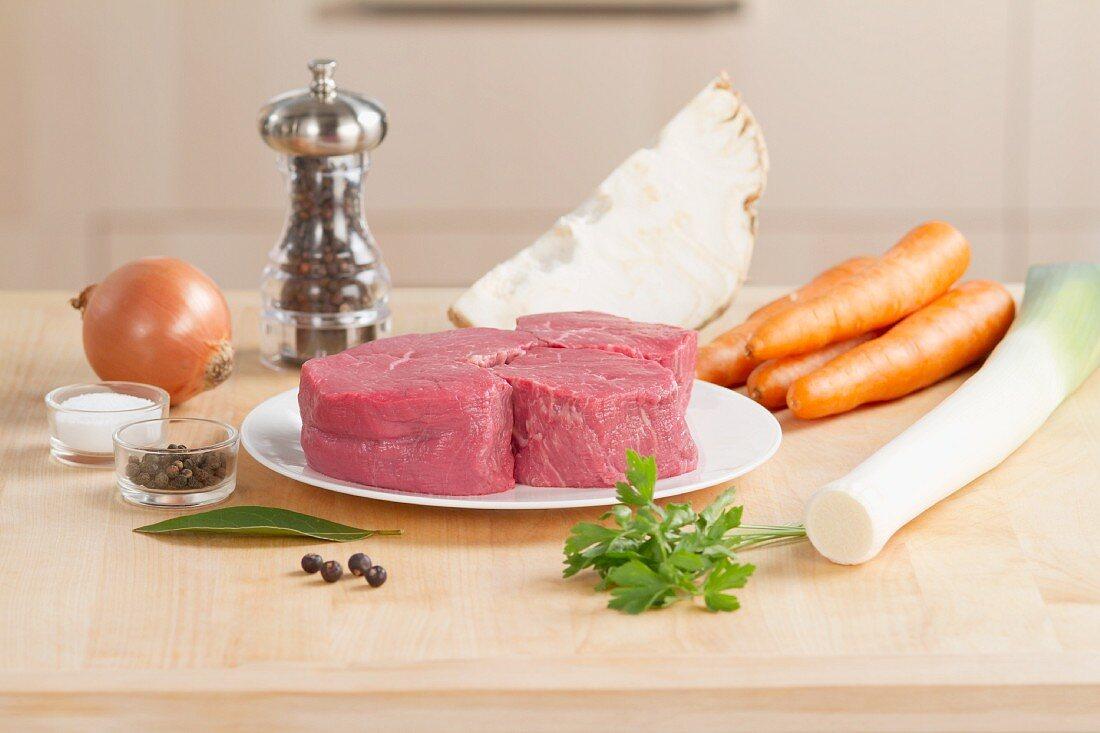 Ingredients for poached fillet steak