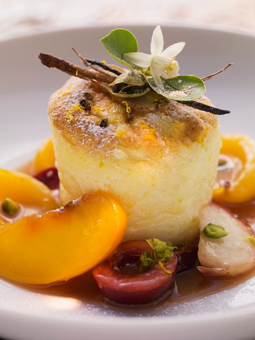 Rice souffle with compote and orange blossom water