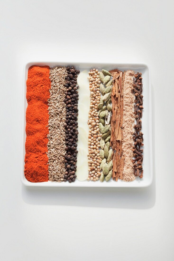 Ingredients for baharat (spice mixture from the Eastern Mediterranean region and the Arab region)