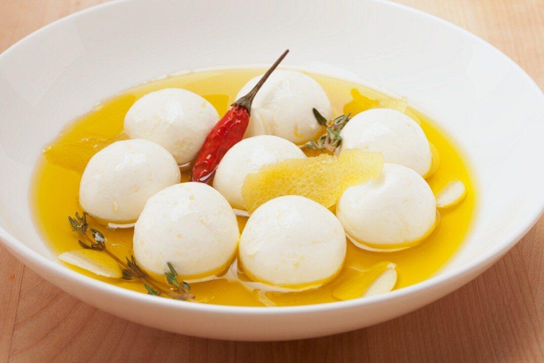 Labne (yogurt balls in olive oil, oriental cuisine)