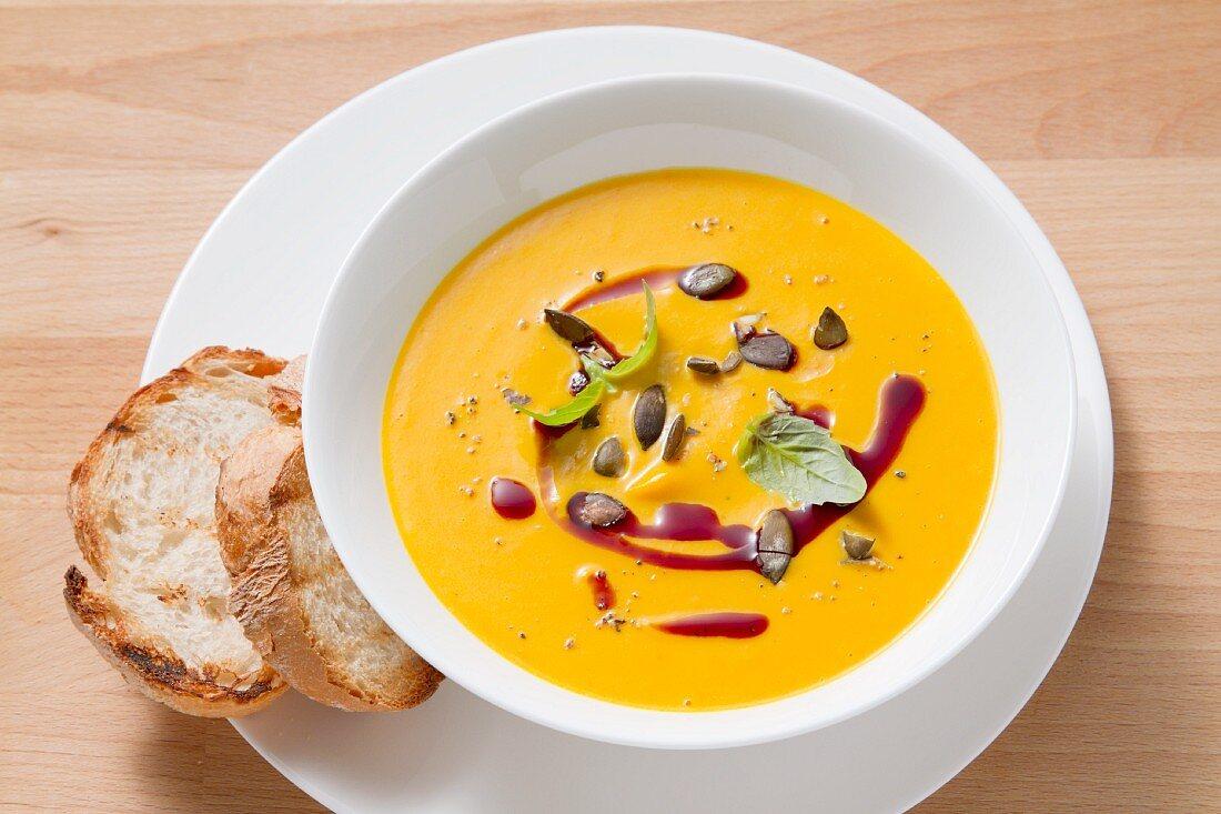 Cream of pumpkin soup with pumpkin seeds