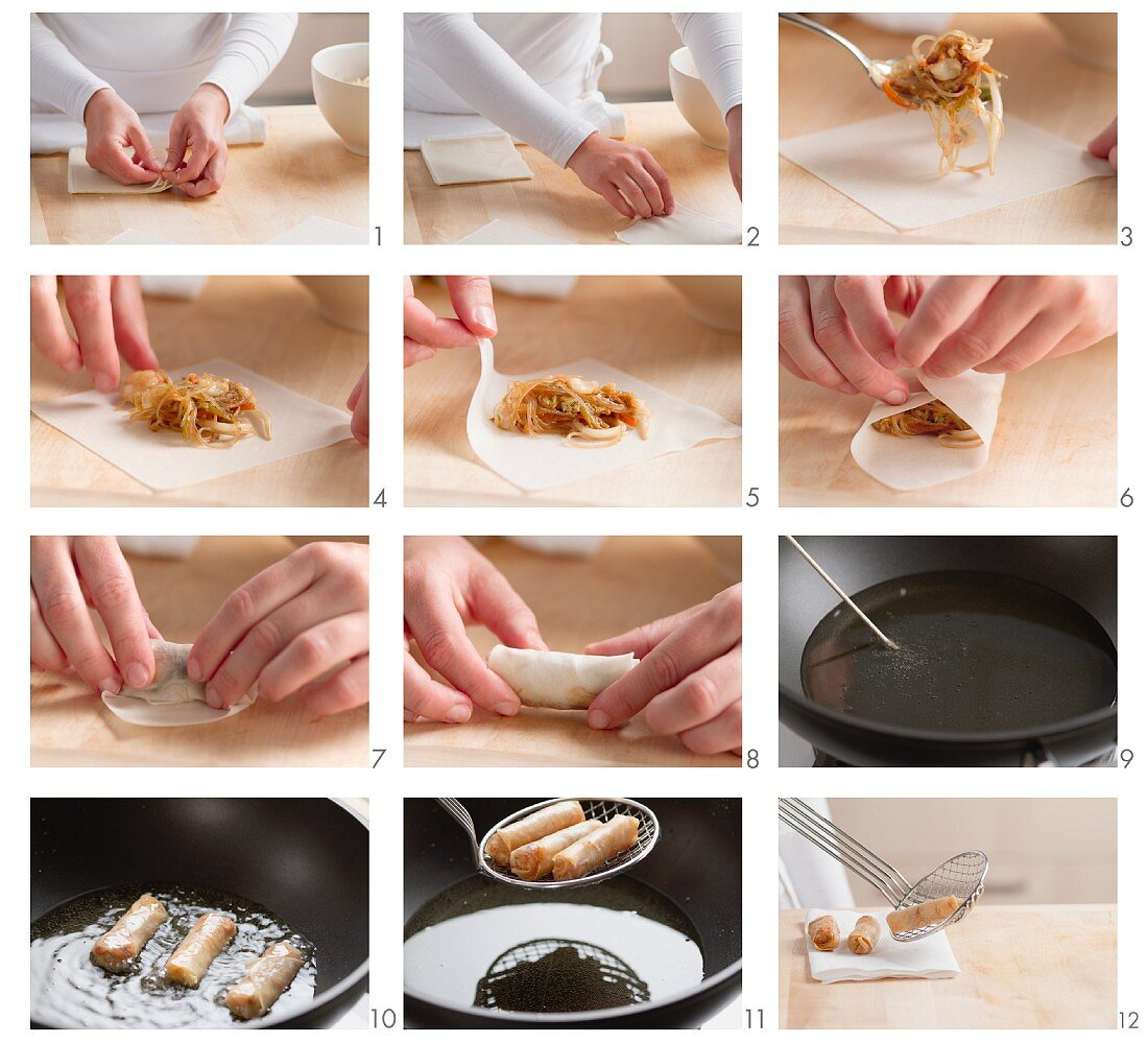 Spring rolls being made (sheets being filled)
