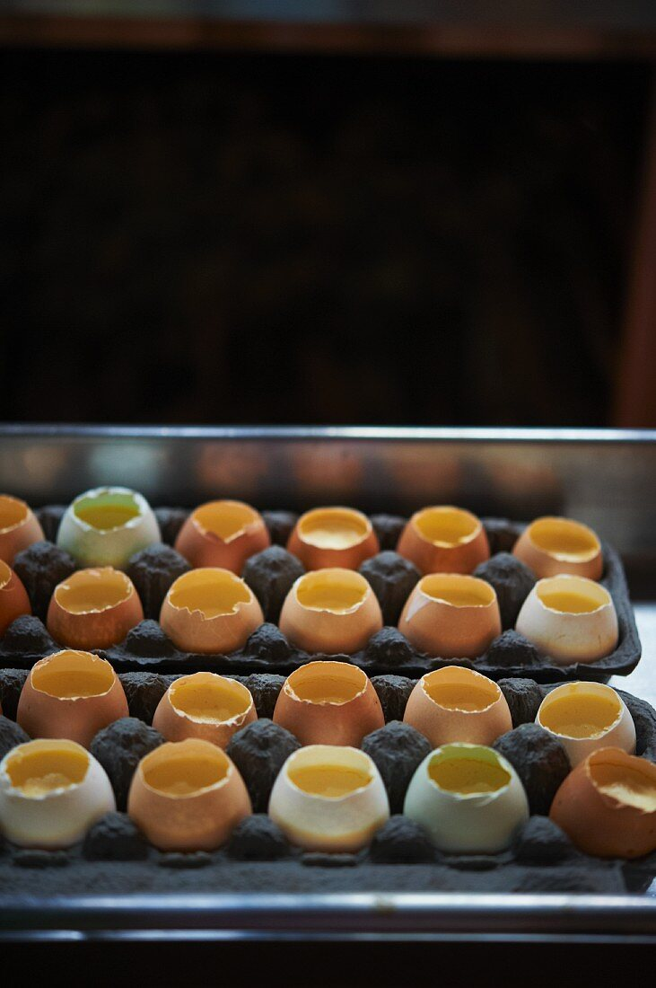 Custard Cooked in Egg Shells; In Egg Cartons