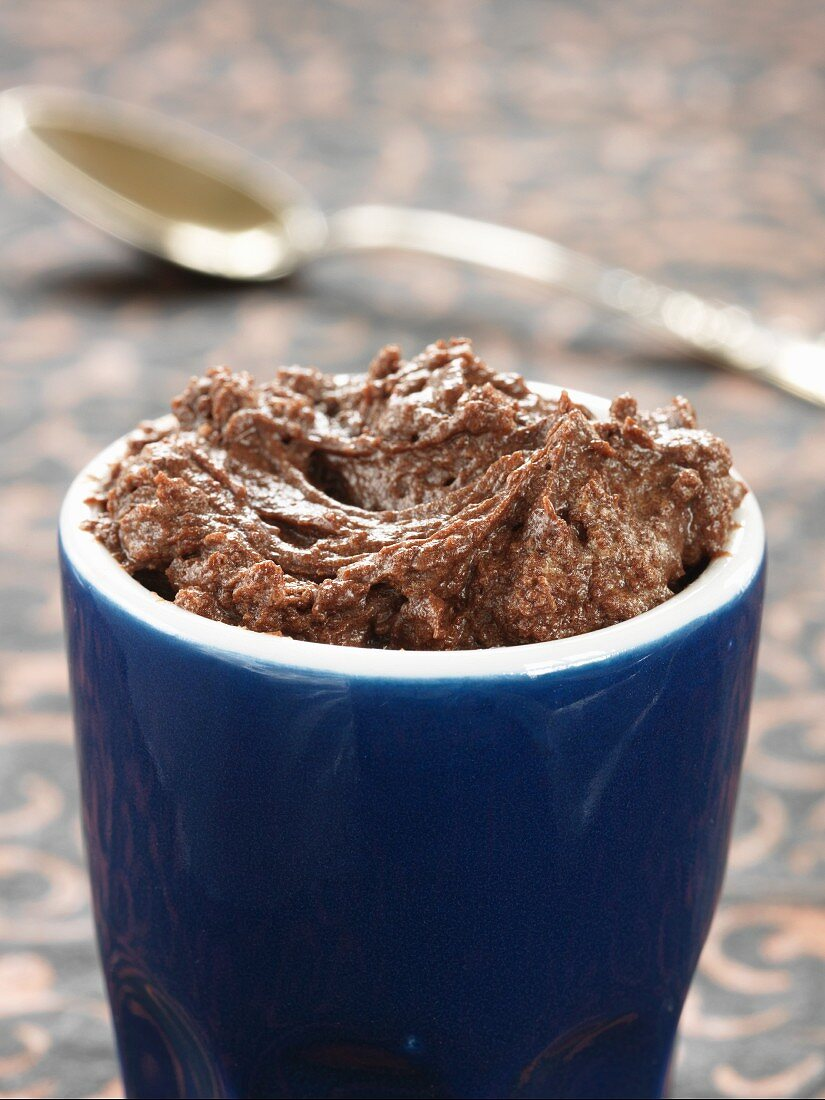 Mousse au chocolat in a blue cup