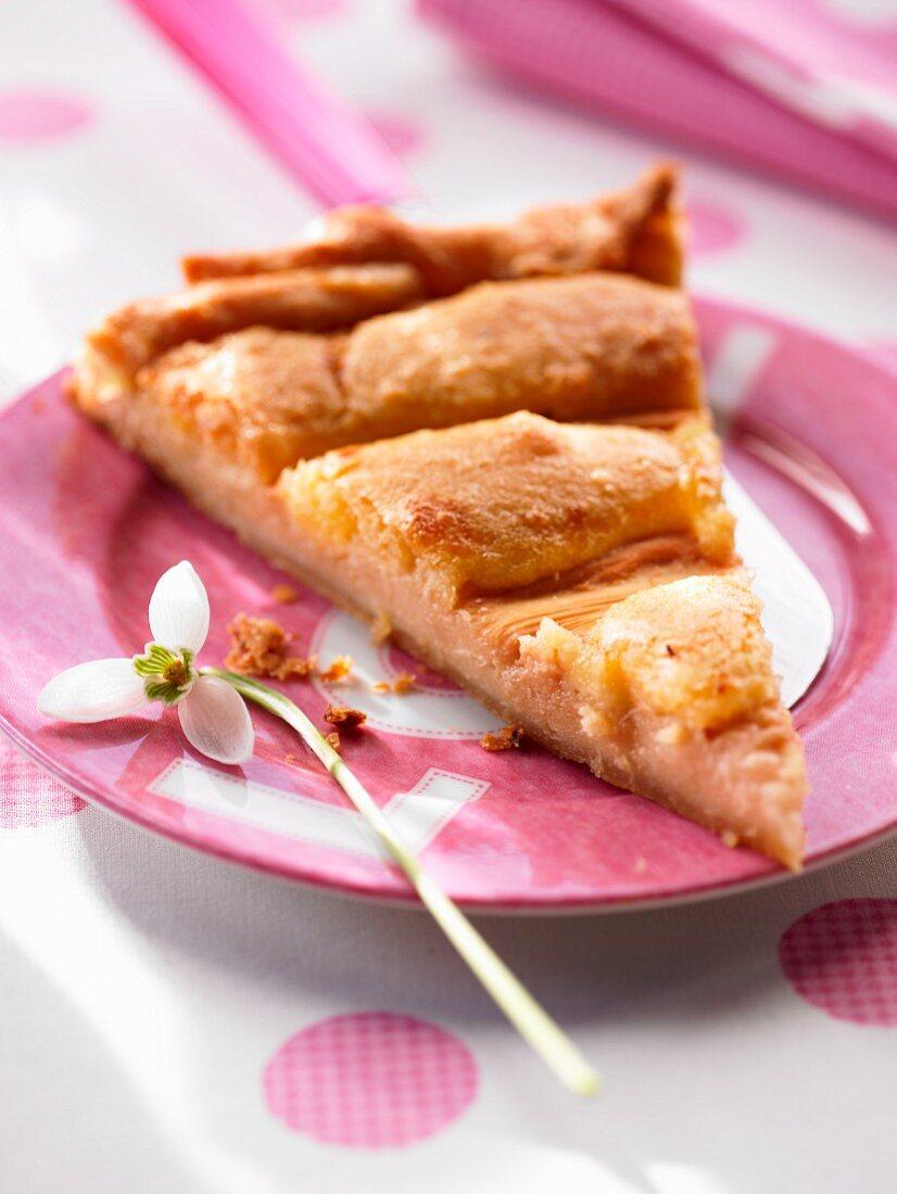 A slice of rhubarb tart