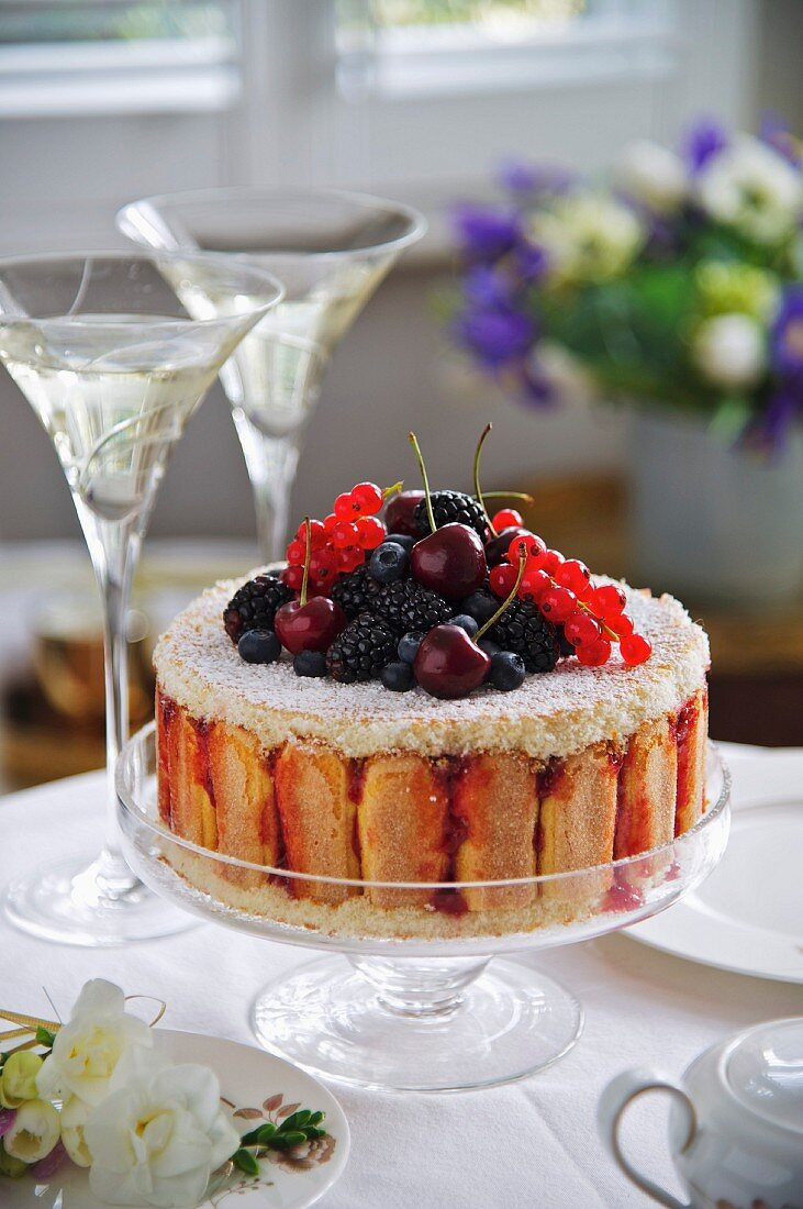 A charlotte with fresh berries