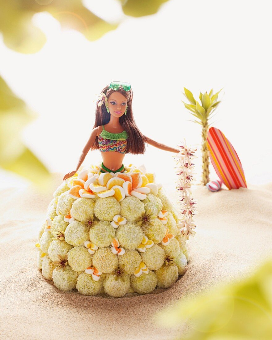 A Barbie cake with coconut balls
