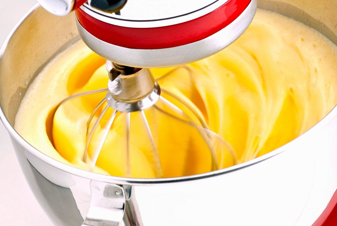 Yellow Cake Batter in a Sand Mixer