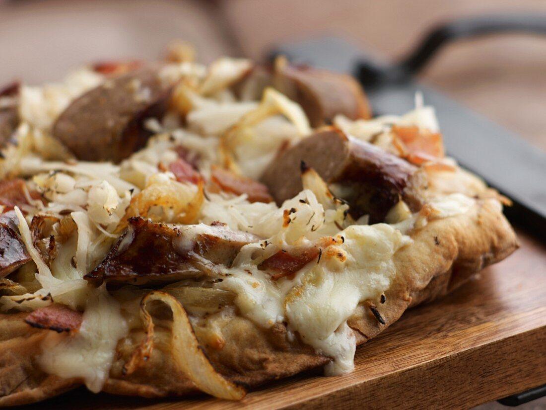 Bratwurst and Sauerkraut Pizza with Mozzarella Cheese