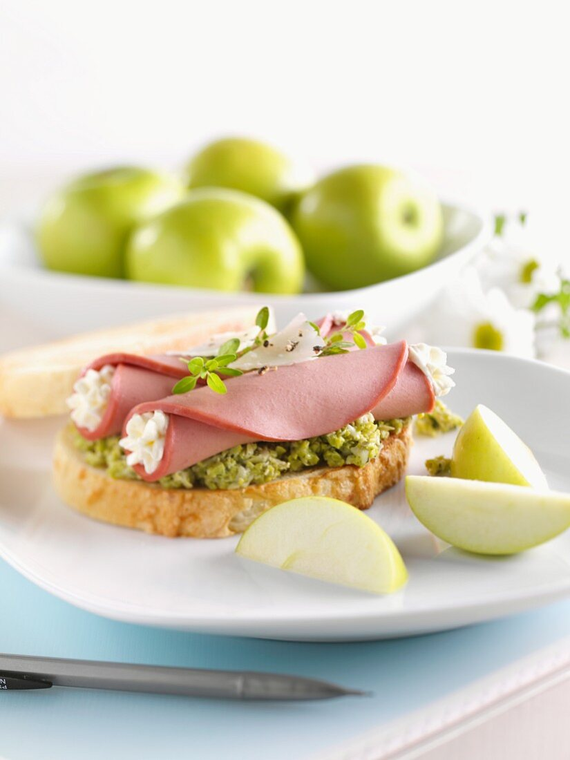 Gourmet Bologna Sandwich; Bologna and Cream Cheese Roll with Edamame Pate on a Slice of Italian Bread