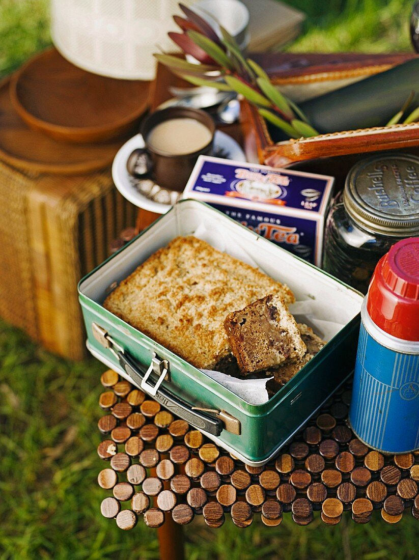 Lumberjack cake (apple and date cake from the USA) in a lunchbox