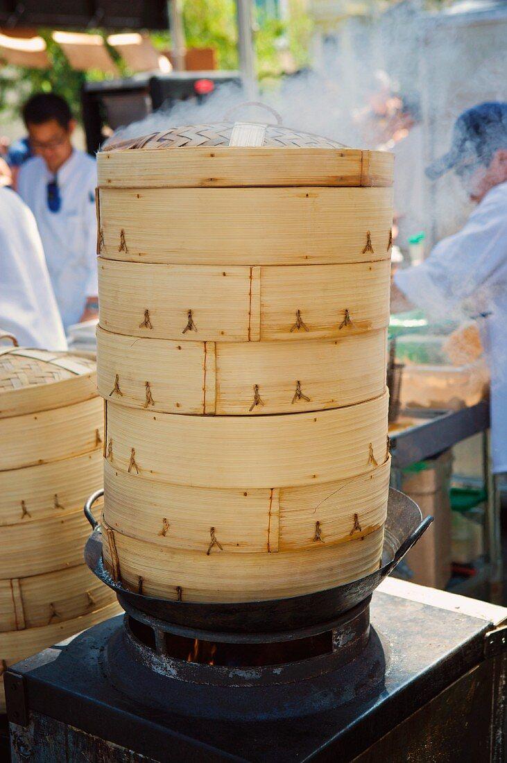 Bamboo Steamer Steaming; At Market