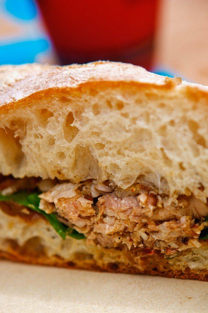 Pork Sandwich on Ciabatta Bread; Close Up