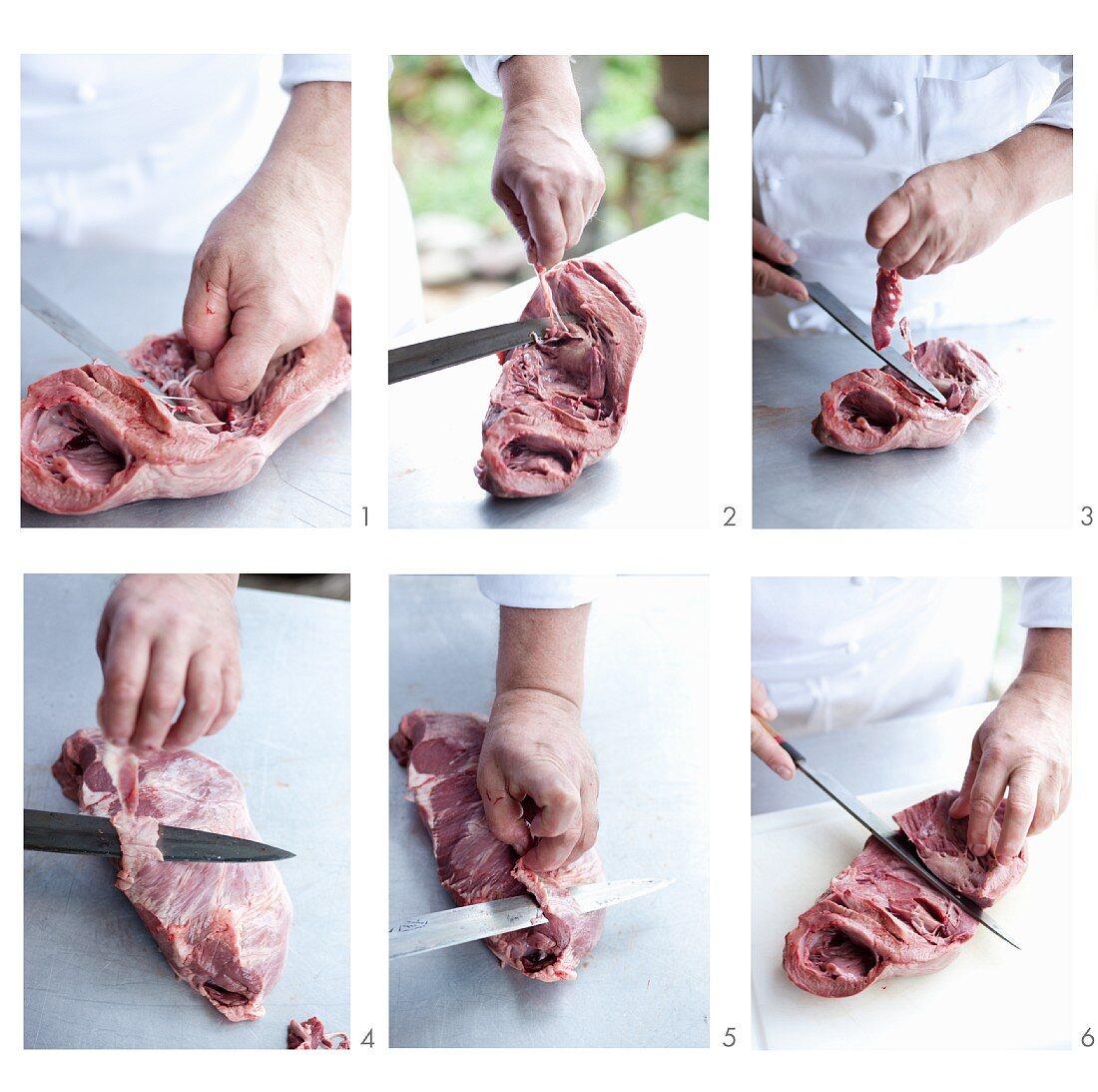 Veal heart being prepared